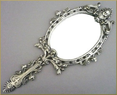 Miroir face main style louis xvi bronze argent for Miroir de poche ancien