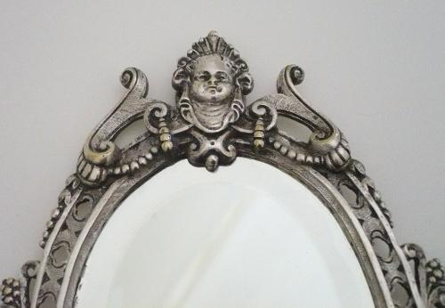 Miroir face main style louis xvi bronze argent for 2 miroir face a face